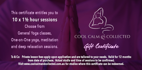 gift certificate 10 x 1 hour sessions cool calm and collected